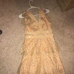 Tan dress with glitter